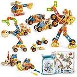 VATOS Holz Konstruktionsspielzeug, Pädagogisches Montessori Spielzeug ab 3 4 5 6 7 8 9 10+ Jahren Junge und Mädchen, STEM Holzbausteine ist EIN Präfektengeschenk - Enthält 72 Teile und EIN Ideenbuch