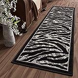 Tapiso Dream Teppich Läufer Flur Brücke Modern Zebra Streifen Tier Muster in Creme Grau Schwarz Korridor Wohnzimmer ÖKOTEX 60 x 300 cm