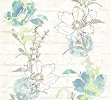 A.S. Création Papiertapete Urban Flowers Ökotapete Tapete floral 10,05 m x 0,53 m blau grün weiß Made in Germany 328001 32800-1