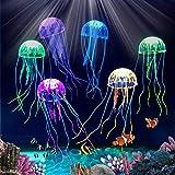 BETOY Leuchtende Quallen, 6 Stück Künstliche Quallen Silikon Quallen Hohe Simulation Aquarium Dekoration Künstliche Quallen Geeignet für Aquariumdekorationen, Gelb, Grün, Orange, Pink, Blau, Lila