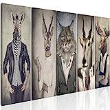 murando - Bilder Hirsch 200x80 cm Vlies Leinwandbild 5 TLG Kunstdruck modern Wandbilder XXL Wanddekoration Design Wand Bild - Natur Tier Landschaft g-B-0041-b-m