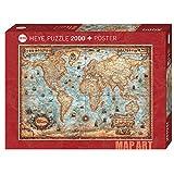 HEYE 29845 The World Standart 2000 Teile, Map Art, inkl. Poster, Brown