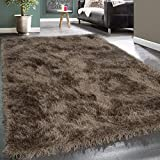 Paco Home Moderner Wohnzimmer Shaggy Hochflor Teppich Soft Garn In Uni Braun Beige, Grösse:80x150 cm