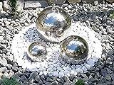 Kugelbrunnen 3er-Set 40/28/20 cm Springbrunnen Komplettset Gartenbrunnen Edelstahl poliert LED
