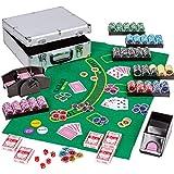 Maxstore Ultimate Pokerset Deluxe, 300er BZW. 600er Edition, 12 Gramm METALLKERN Laserchips, Poker Decks, Alu Pokerkoffer, Kartenmischer, Kartengeber, Würfel, Dealer Button, Pokerchips, Jetons