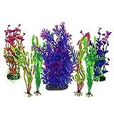 Aquarium Wasserpflanzen, PietyPet 7 Stück Großen Kunststoff Pflanzen Aquarium Aquariumpflanze Fisch Tank Dekoration rot