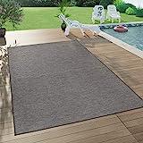 Paco Home In- & Outdoor-Teppich Für Wohnzimmer, Balkon, Terrasse, Flachgewebe In Grau, Grösse:160x220 cm