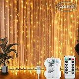 LED Lichtervorhang, 300 LEDs Lichterkettenvorhang 3M*3M USB Lichterkettenvorhang Batteriekasten mit 8 Modi Lichterkette Warmweiß für Partydekoration Weihnacht, Schlafzimmer, und Innenbeleuchtung