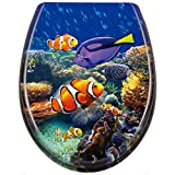 WEIERR WC Sitz Toilettendeckel Absenkautomatik mit Absenkautomatik/Softclose, Universal Größe Toilettensitz aus Hartplastik Antibakteriell Klodeckel aus Duroplast (Unterwasserfische)