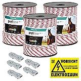VOSS.farming 600m Weidezaunseil 6mm Elektrozaunseil 6X 0,25 HPC-Leiter - mit Zubehör - weiß-rotes Elektroseil Pferdezaun Weidezaun Elektrozaun Ponyzaun