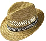 Erntehelfer Strohhut (Sonnenschutz) Damen und Herren | Sonnenhut im Trilby-Look | Hut aus Stroh für den Sommer am Strand oder im Urlaub | Verschiedene Größen | Farbe Natur (53)