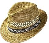 Erntehelfer Strohhut (Sonnenschutz) für Damen und Herren, cooler und modischer Sonnenhut im Trilby Look für den Sommer am Strand oder im Urlaub, verschiedene Größen, Farbe natur, Gr: 57 cm