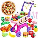 Buyger 31 Stück Kinder Küchenspielzeug Schneiden Spielzeug Einkaufswagen Obst Gemüse Spielzeug mit Lichtern und Musik für Kinder