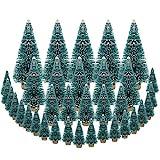 DECARETA 35 Stück Künstlicher Weihnachtsbaum, Mini Grün Tannenbaum, 4.5/6.5/8.5/12.5cm Naturgetreuer Christbaum für Tischdeko, DIY, Schaufenster (Grün)