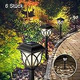 Solarleuchten Garten, 6 Stück LED Warmweiß Solar Gartenleuchte für Außen mit IP44 Wasserdicht, Görvitor Solar Wegeleuchte Dekorative Licht für Draußen Landschaft Balkon Terrasse Rasen Garten Gehweg