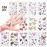 Konsait Schmetterling Tattoo Set 150 Kinder Tattoos Aufkleber für Mädchen Kinder Spielen Mitgebsel Kindergeburtstag Gastgeschenke Taschen Füller