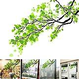 Sichtschutz-Aufkleber, 58 x 60 cm, grüne Blätter, Milchglas-Aufkleber, Dekoration für Schiebetür, Balkon, Badezimmer, Fenster-Aufkleber Free Size grün
