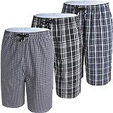 JINSHI Herren Kurz Pyjama Hose Freizeithose Schlafanzugshose Loungewear Baumwolle Sommerhose Weites Bein Shorts 3er Pack-02 Größe L