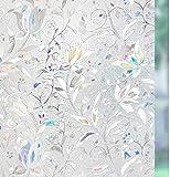 rabbitgoo Fensterfolie Milchglasfolie Sichtschutzfolie Selbstklebend Folie Fenster Scheibenfolie Blickdicht Anti-UV Statische Privatsphäre Schutzfolie Matt Für Bad, Büro, Wohnzimmer weiß 44.5 x 300CM