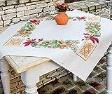 Kamaca Stickpackung Natur Kreuzstich vorgezeichnet aus 100% Baumwolle zum Selbersticken (80x80 cm Mitteldecke)