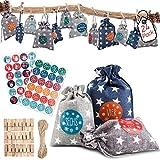 AODOOR 24 Adventskalender zum Befüllen - Stoffbeutel, Weihnachten Geschenksäckchen mit 1-24 Adventszahlen Aufkleber, Weihnachtskalender tüten Geschenkbeutel Jutesäckchen Bastelset für Männer Kinder