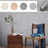 KINLO Selbstklebend Tapete wasserfest aus hochwertigem PVC Wandtapete Dekofolie 0.61 * 5M Dunkelgrau Sackleinen Stil Wandaufkleber Klebefolie Möbelaufkleber für Wohnzimmer TV Wand
