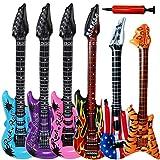 BESLIME Aufblasbare Rock Star Toy Set - Aufblasbare Party Props - Aufblasbare Flame Guitar, Aufblasbare Flammengitarren, Luftpumpe für Party-Luftballons