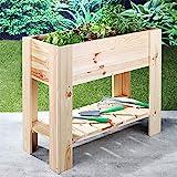 Schroth Home Hochbeet compact rechteckig aus Holz für Balkon Garten mit Ablage Kräuterbeet als Bausatz