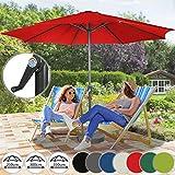 Sonnenschirm in Ø 2,5m / Ø 3m / Ø 3,5m - in Farbwahl aus Stahlrohr und Wasserabweisender Schirmbezug, mit Kurbel - Marktschirm, Gartenschirm, Terrassenschirm, Ampelschirm, Strandschirm, Sonnenschutz (Ø 3,5 m, Rot)