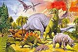 1art1 Dinosaurier - Collage, Dino-Welt Selbstklebende Fototapete Poster-Tapete 180 x 120 cm