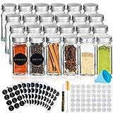 Deco haus Gewürzgläser mit Schraubkappe - 24er Set - Verschiedene Streuer-Aufsätze, Trichter, Bürste, Etiketten & Kreidestift - Perfekt für unsere 4 Gewürzregale - 120 ml, 10,5 x 4,3 cm