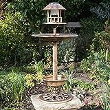 Kingfisher Vogelhaus mit Vogelbad, Kupfer-Design, solarbetrieben