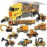 Jenilily 12 in 1 Baufahrzeug Autos Konstruktionsfahrzeuge Bagger Spielzeug Baustelle LKW Spielzeugautos Gabelstapler für Kinder