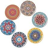 BOHORIA Premium Design Untersetzer (6er Set) – Dekorative Untersetzer für Glas, Tassen, Vasen, Kerzen auf ihrem Esstisch aus Holz, Glas oder Stein (rund | 9cm) (Mandala Edition)