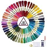 Oladwolf Stickgarn Set Stickerei Kreuzstich 50 Farbfäden, Garn Freundschaftsbänder Stickgarn Baumwollgarn Embroidery Threads Nähgarne Stickerei Basteln