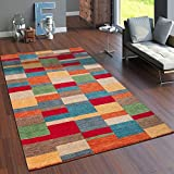 Paco Home Teppich Handgewebt Gabbeh Hochwertig 100% Wolle Meliert Kariert Multicolor, Grösse:160x230 cm