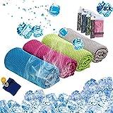 Espistmo Kühlendes Handtuch 4 Stück Reisetuch 100 x 30 cm Gym Mikrofasertuch für Männer oder Frauen Eiskalte Handtücher für Yoga Gym Reisen Camping Golf Fußball & Outdoor Sport (Rosa/Grün/Blau/Grau)