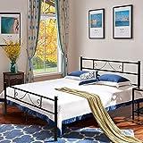 Aingoo Bettgestell mit Lattenrost Gästebett Metallbett Bettrahmen Jugendbett Kinderbett für Kinderzimmer Gästezimmer Schlafzimmer Bett In Schwarz (140 x 190 cm)
