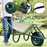Juskys Schubkarre Garden | 100 Liter Volumen | 250 kg | Luftreifen mit Metall Felge | Wanne verzinkt | Garten Karre Schiebkarre Transportkarre