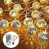 Qedertek LED Lichterkette mit Marokkanischen Kugeln, Lichterkette innen mit Netzstecker – 9 Meter, 30 LEDs Warm Weiß, Kugeln Orientalisch, Deko Silber, Hochzeit, Geburtstag oder anderen Partys