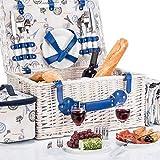 GOODS+GADGETS Picknickkorb für 4 Personen Weidenkorb für Picknick mit Picknickdecke und Kühltasche