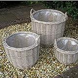 Corby Basket Rund Weidenkorb 3-er Set Grau D = 35/42/50 cm H = 25/34/46 cm