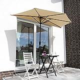 Sekey 2.7m halb-runder Sonnenschirm/Marktschirm/Terrassen-Schirm mit Kurbel für Garten, Terrassen, Höfe, Schwimmbäder, mit 5 Stahlverstrebungen, 100% Polyester Schirm, UV 50+,Taupe