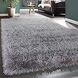 Paco Home Moderner Wohnzimmer Shaggy Hochflor Teppich Soft Garn In Uni Hellgrau Grau, Grösse:120x170 cm