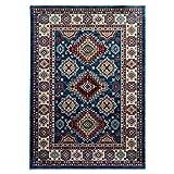 mynes Home Teppich Kurzflor Orientalisches Design Wohnzimmerteppich hochwertig luxuriös Orient in Blau (60 x 100 cm)