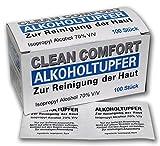 100 Stück Alkoholtupfer Clean Comfort Hygienetücher Alkotupfer