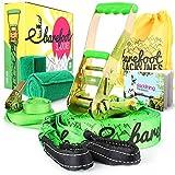Barefoot Slacklines 15m Linie! Komplettset mit Slackline, Ratsche, Trainingsschnur, Bark Protektoren & Anleitung! 3 Fluro Farben verfügbar (Fluro Grün)
