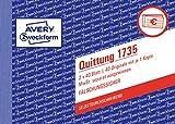 AVERY Zweckform 1735 Quittungsblock (A6 quer, 2x40 Blatt, mit Durchschlag, fälschungssicher, separat ausgewiesene MwSt., für Deutschland und Österreich) weiß/gelb