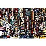 GREAT ART XXL Poster – Broadway – New York im Comic Style Wandbild Wanddekoration City Skyline Sightseeing Künstler Kunst Illustration Motiv Megastadt Dekoration (140 x 100 cm)