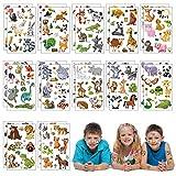 Matogle 24 Stück Tattoo Tier Set Kinder Tattoos temporäre Kindertattoos Aufkleber wasserdicht Stickers aufklebend für Kinder Party Mitgebsel Partygame Geburtstag Geschenk Party zubehör